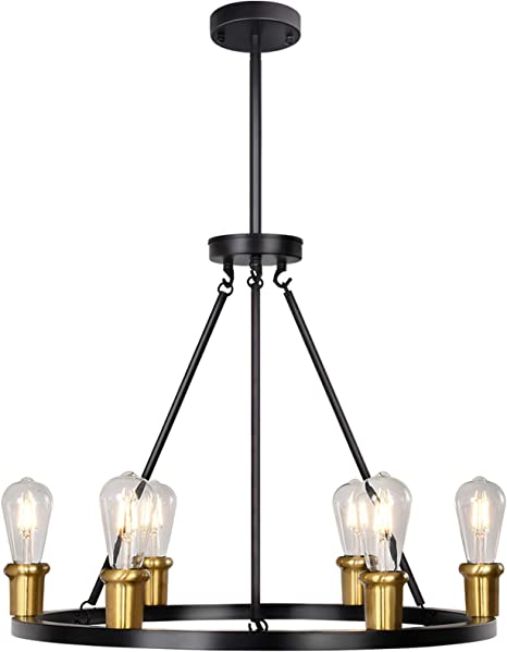 Merbotin Industrial Round Chandelier 6 Light Wagon Wheel Chandeliers Rustic Ceiling Light Pendant Light For Kitchen Island Dining Room Foryer Matte Black Antique Brass Accents 26 Diameter