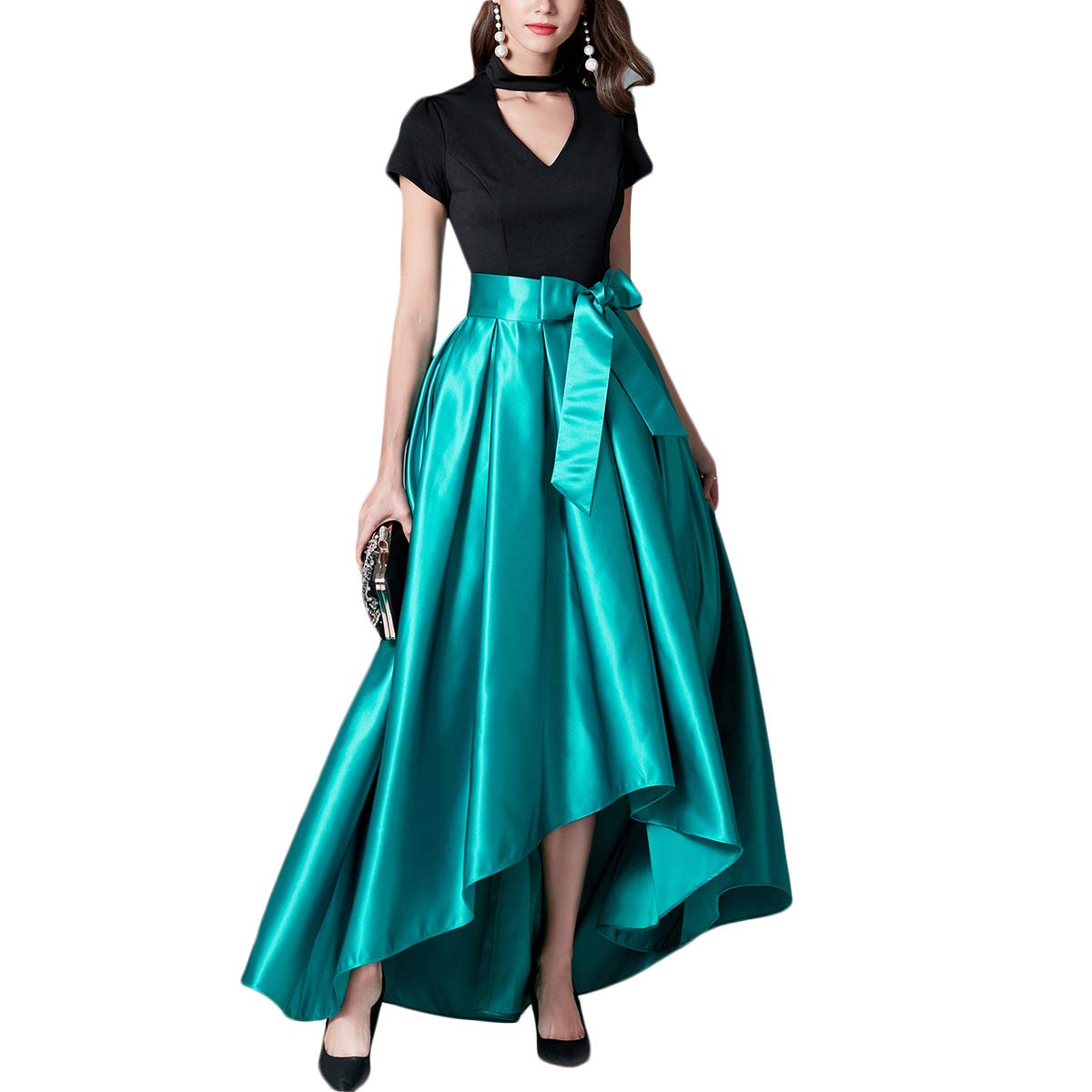 bluee Women V Neck Short Sleeve High Low Patchwork Bow Tie Swing Maxi Evening Dress