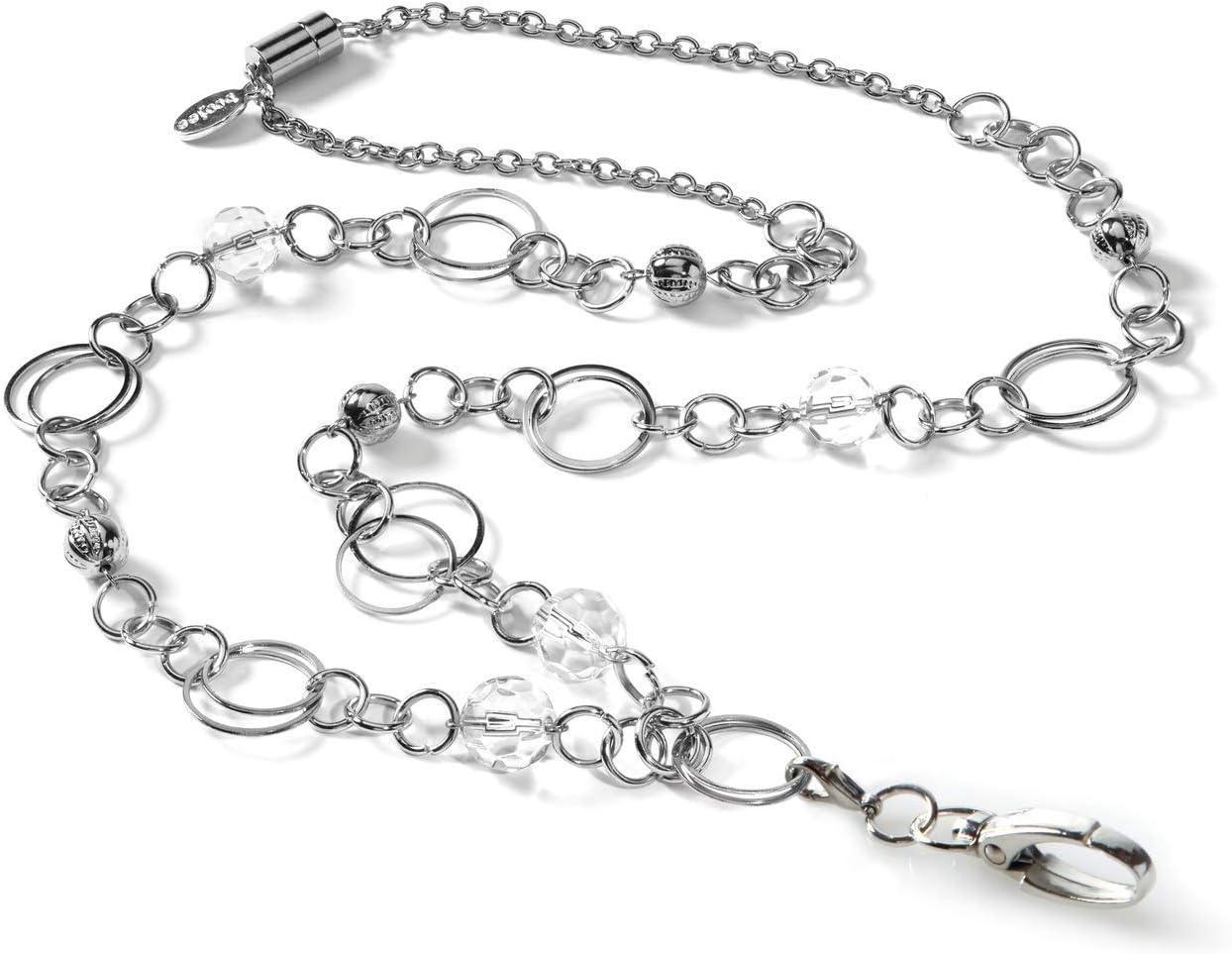 Geometric Lanyard Woman Gift Nurse Silver Lanyard Necklace S Charm Pearl Lanyard White Pearl Badge Holder Silver Pearl ID Badge Holder