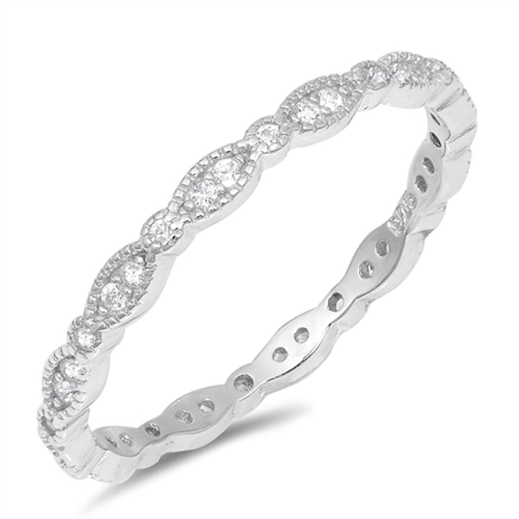 CHOOSE YOUR COLOR Sterling Silver CZ Round-Marquis Eternity Ring (Size 4 - 10) - 7