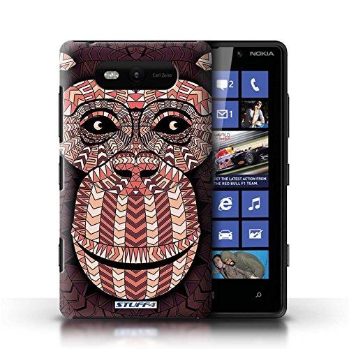 Etui / Coque pour Nokia Lumia 820 / Singe-Rouge conception / Collection de Motif Animaux Aztec