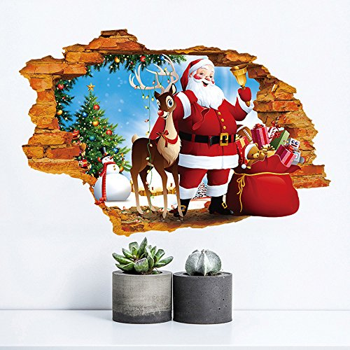 Wall Claus Santa (Guang-T 3D Window Wall Sticker Merry Christmas Santa Claus and Deers Removable Stickers Art Decals Mural for Christmas Festival Holiday Decoration (50X70CM)