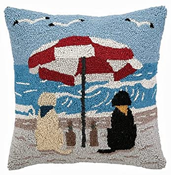 Beach Yellow and Black Labrador Retriever Dogs 16 X 16 Wool Hooked Throw Pillow