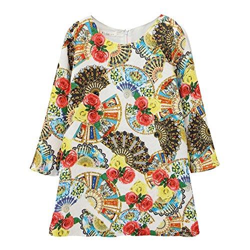 [Sanlutoz Little Girls Long Sleeve Vintage Flower Print Italy Princess Dress (7-8)] (Italy Cotton Dress)