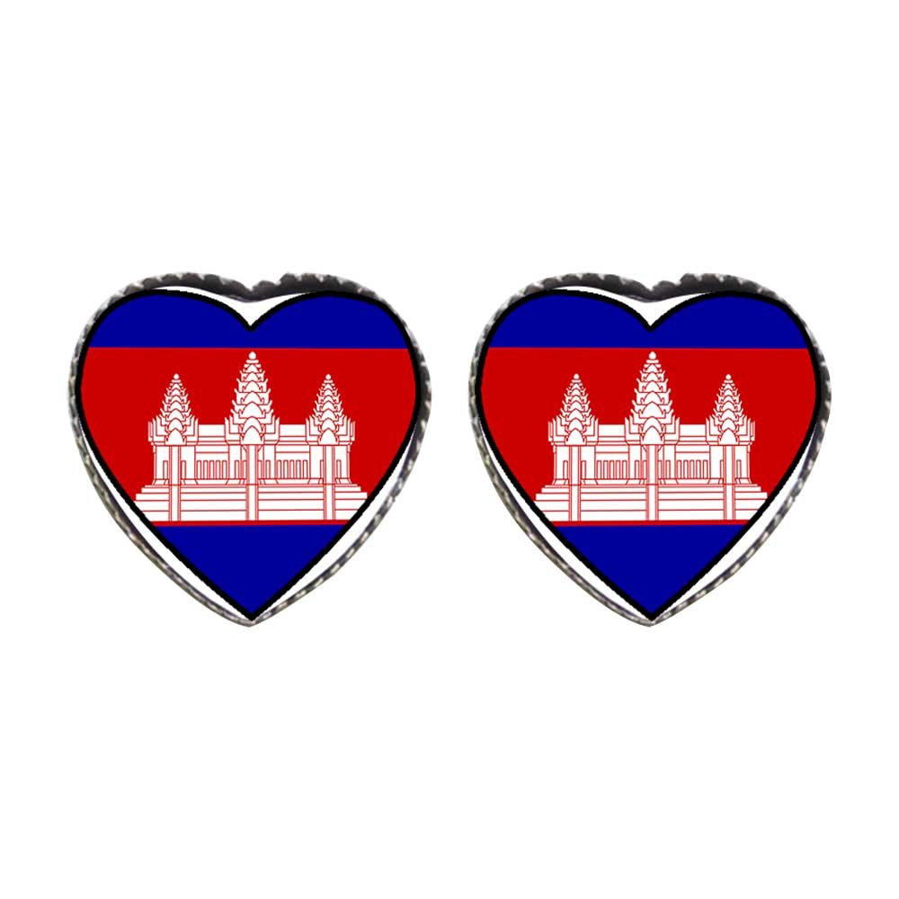 GiftJewelryShop Bronze Retro Style Cambodia flag Photo Stud Heart Earrings #12