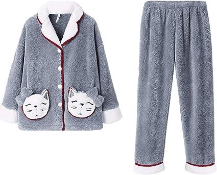 Pijama de Mujer Mujeres con botones ropa de dormir suave ...