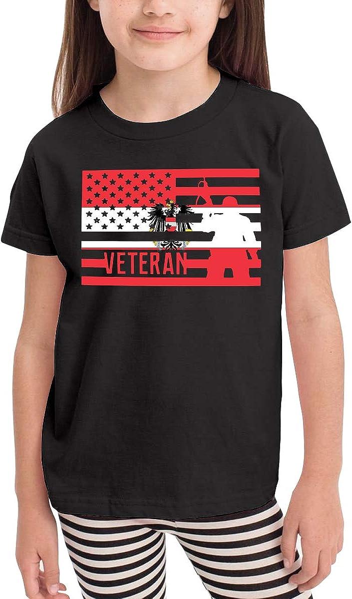 Veteran American Flag of Austria Infant Kids O-Neck Short Sleeve Shirt T-Shirt for Toddlers