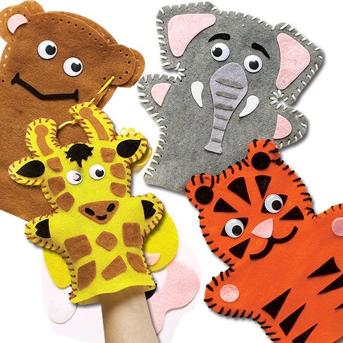 Jungle Animal Hand Puppet Felt Sewing Kits 4 Designs -Monkey, Tiger, Elephant & Giraffe for Kids to Sew & Play with(Pack of 4) (Kids Craft Elephant)