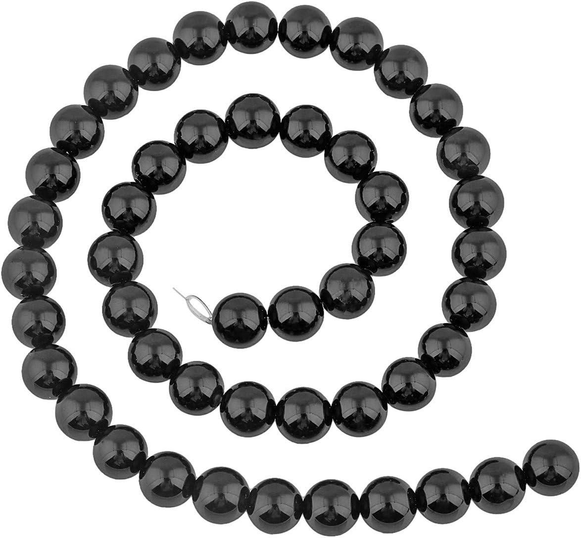 Natural Lava Perles Brins 1 mm Trou rond pour bijoux 8 ~ 9 mm Noir 45pcs