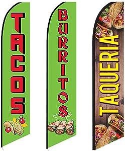 3 Swooper Flags Breakfast Lunch Dinner SPECIAL Tacos Burritos & Taqueria