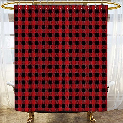 Mikihome Shower Curtains Mildew Resistant Scottish Kilt Print Striped B Squares Chess Board Like Ruby Bathroom Decor Sets with Hooks W72 x H72 ()