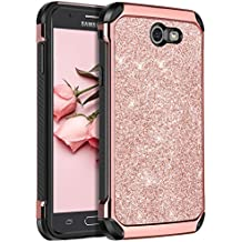 Galaxy J7 2017 Case,Galaxy J7 2017(AT&T)/ Galaxy J7 V /J7 Prime /J7 Perx /J7 Sky Pro/ Galaxy Halo Case, BENTOBEN Sparkly Glitter Shockproof Hybrid Phone Case Cover for Samsung Galaxy J7 2017,Rose Gold