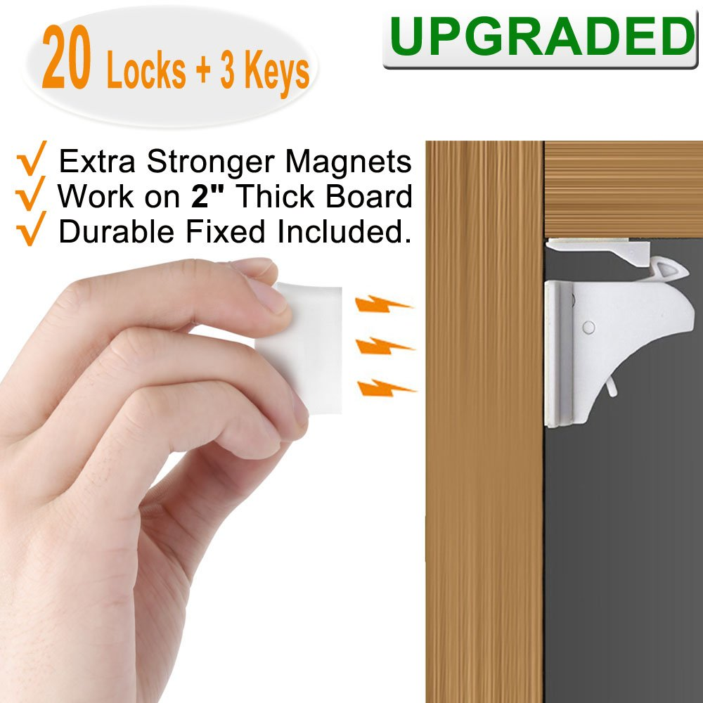 Magnetic Cabinet Locks Baby Proofing - VMAISI 20 Pack Children Proof Cupboard Drawers Latches - 3M Adhesive Easy Installation