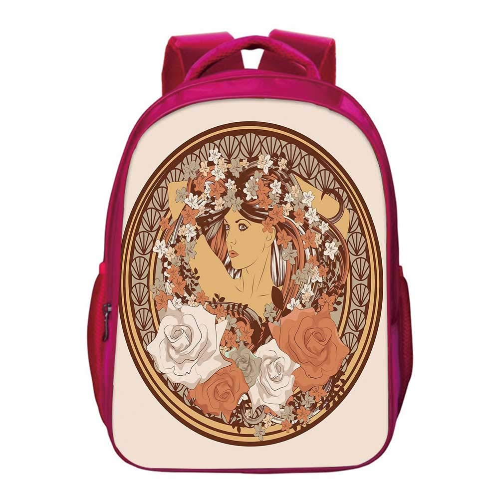 Boho Printing Backpack,Hippie Ethnic Design with Flowers and a women with Hair Standing in the Middle Art Print Decorative for Kids Girls,11.8''Lx6.3''Wx15.7''H by YOLIYANA