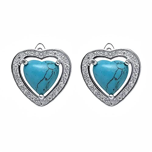 c8e4dfd48 Image Unavailable. Image not available for. Color: Beautiful Sterling Silver  4mm Simulated Turquoise Heart Shaped Stud Earrings