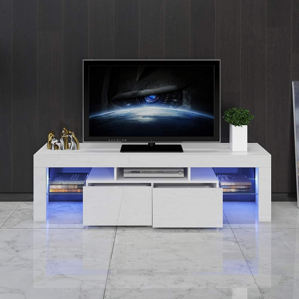 Ninasill US Fast Shipment White TV Stand with Lights Modern LED TV Stand with Storage Drawers,High Gloss TV Stand for 43//55//50//65 Inch TV Living Room Entertainment Center Media Console Table