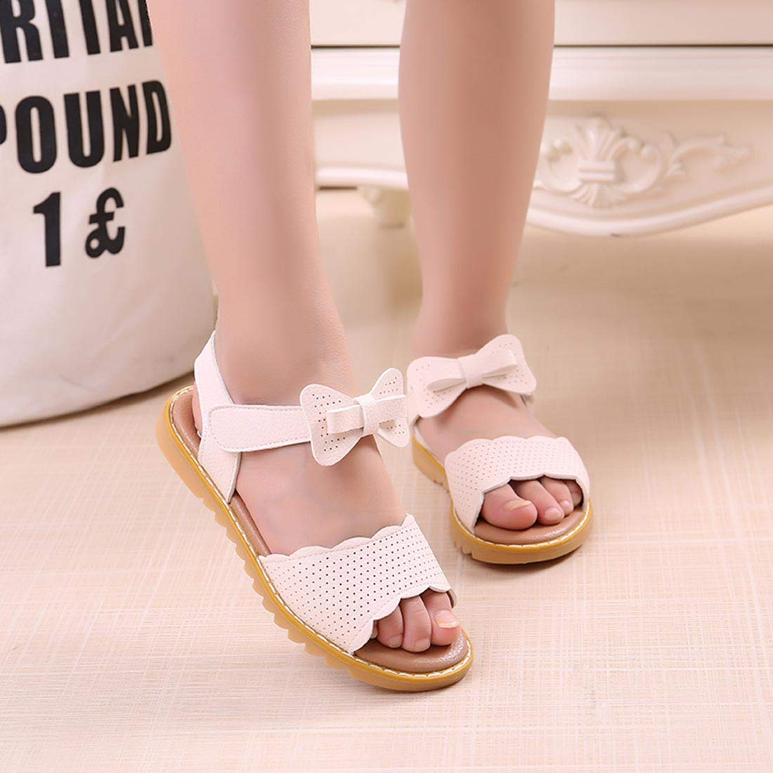 JTENGYAO Toddler Little Girls Open Toe Sandals with Bow