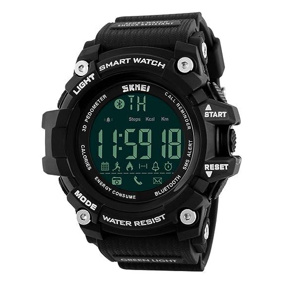 Skmei Reloj Hombre Inteligente para Android IOS Podómetro Bluetooth Pulsera Inteligente Resistente Al Agua 5ATM Deportivo Fitness Tracker Barato: Amazon.es: ...