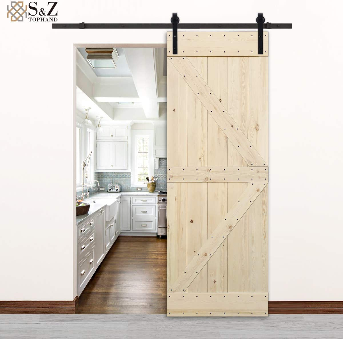 British Brace Knotty Pine Barn Door//Double Surfaces//A Simple Assembly is Required. 42, Coffee Coffee S/&Z TOPHAND 42 in Finished Antique Art x 84 in