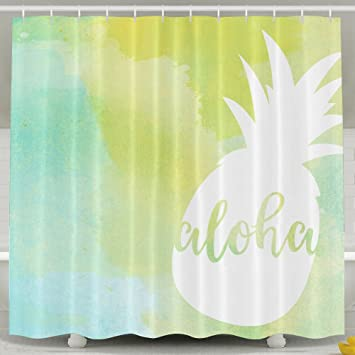 Amazoncom Pineapple Aloha Bathroom Shower Curtain Waterproof Bath