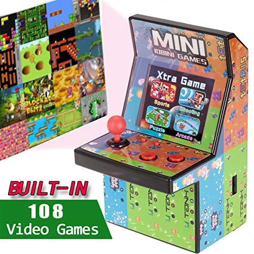 Kids Mini Retro Arcade Game Cabinet Machine with 108 Classic Video Games Handheld Tiny Battle Joystick Gaming Toys Christmas Gift for Boys Girls Adults Travel Portable Novelty Holiday Electronics Toy