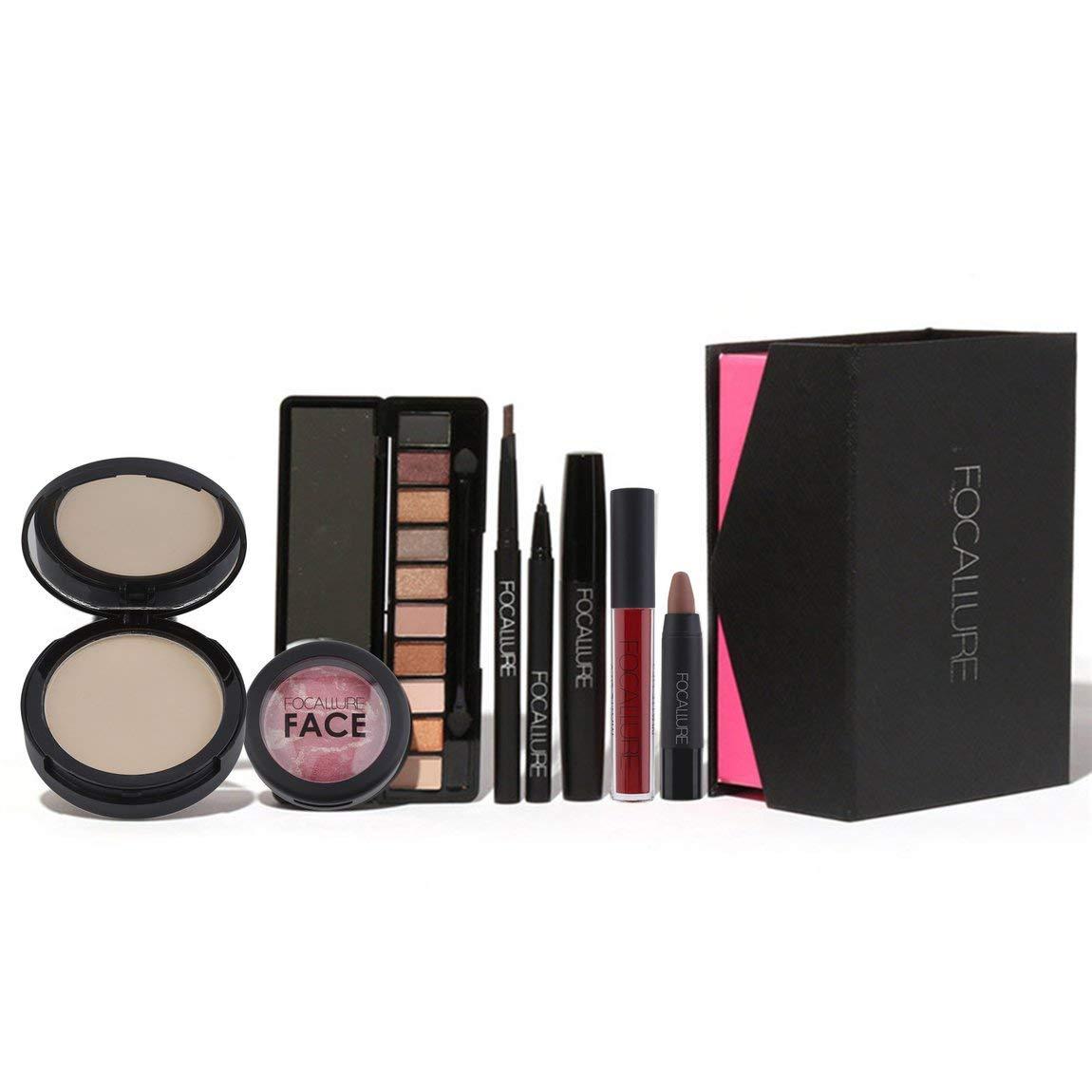 8 unids Maquillaje Herramienta Cosmética Browspens Eyeshadow Podwer Lip Eyeliner Máscara Blush Lip Set Brillante Esencial Para Principiantes SeniorMar