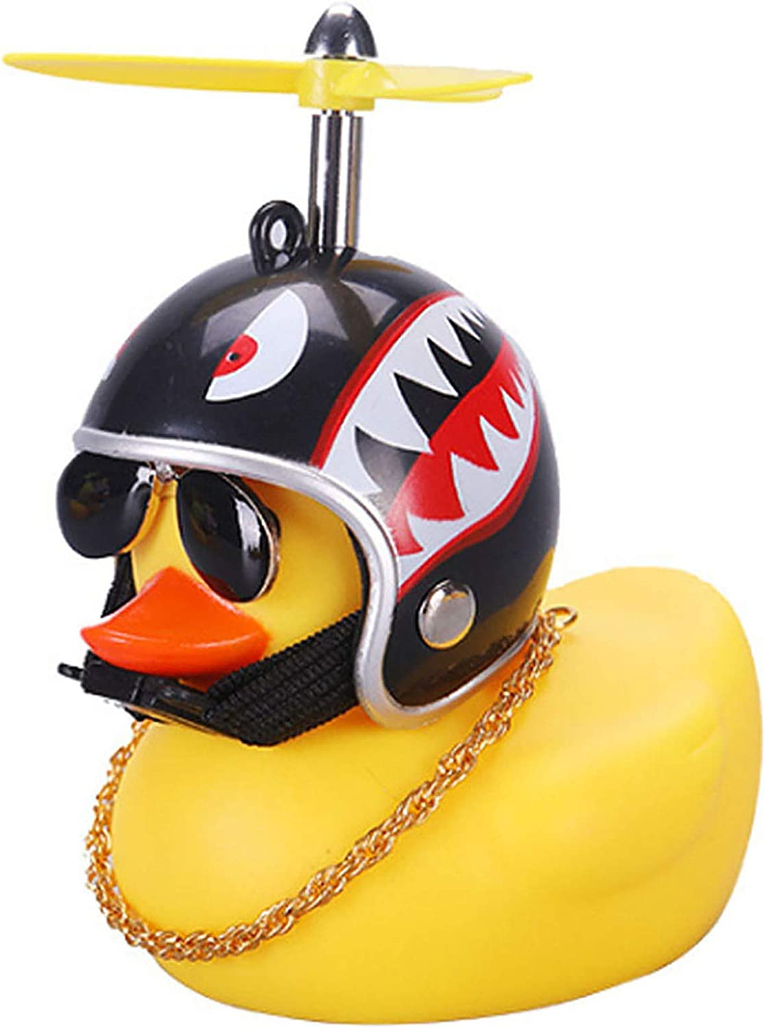 wonuu Rubber Duck Car Ornaments Pink Duck Bike Bell Cute Duck Car Dashboard Decorations Squeeze Duck Bicycle Horns with Propeller Helmet Glasses and Gold Chain