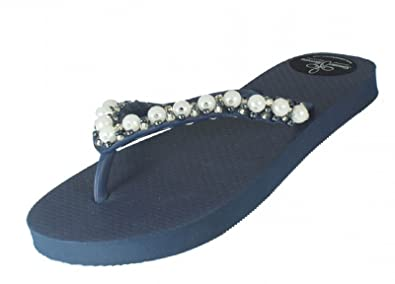 Designer Luxus Flip Flops-Chanclas Exclusivas Simone Herrera-Glamourous Line-Isabella-Riemchen Sandale Zehentrenner (37/38) (41/42) FNJ76BCl