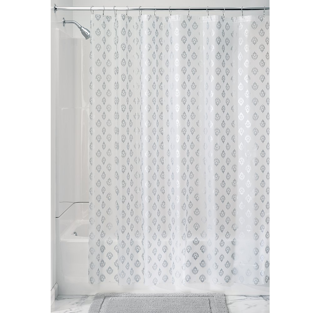 InterDesign 180 x 200 cm Florence Decorative Peva 3-Gauge Shower Liner, Silver 36399EU