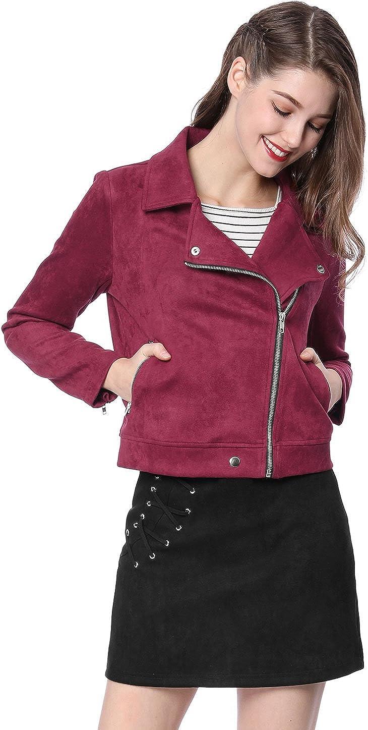 Allegra K Womens Faux Suede Zip up Short Moto Biker Jacket