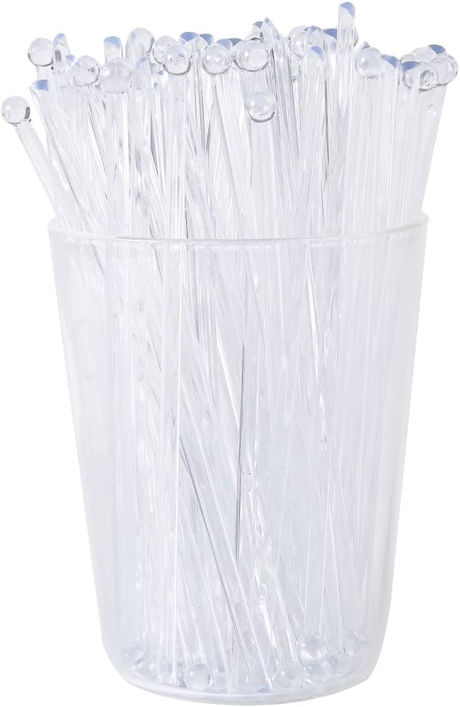 Gmark 6 Inch Plastic Round Top Swizzle Sticks 100 ct Clear, Ball Head Stirrer 100 Pack GM1003D