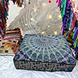 30 Inch Square Ottoman CRAFT PLACE Indian Mandala Floor Pillow Square Ottoman Pouf Daybed Oversized Cushion Cover Cotton Seating Ottoman Poufs Dog or Cat/Pets Bed 35