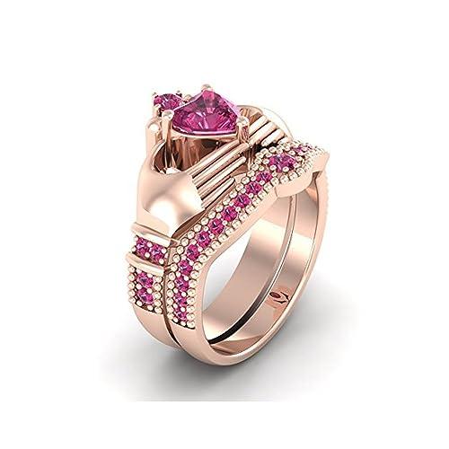 Mejor compromiso anillos de boda en 3,30 ct rosa Cubic Zirconia Forma de Corazón