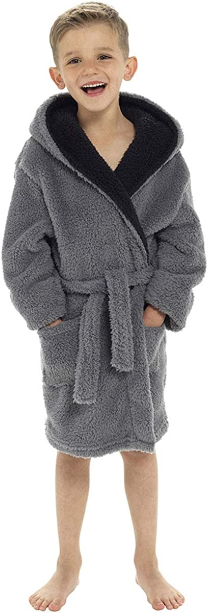 11-12 Years Grey Socks Uwear Boys Hooded Shaggy Fleece Dressing Gown Bathrobe