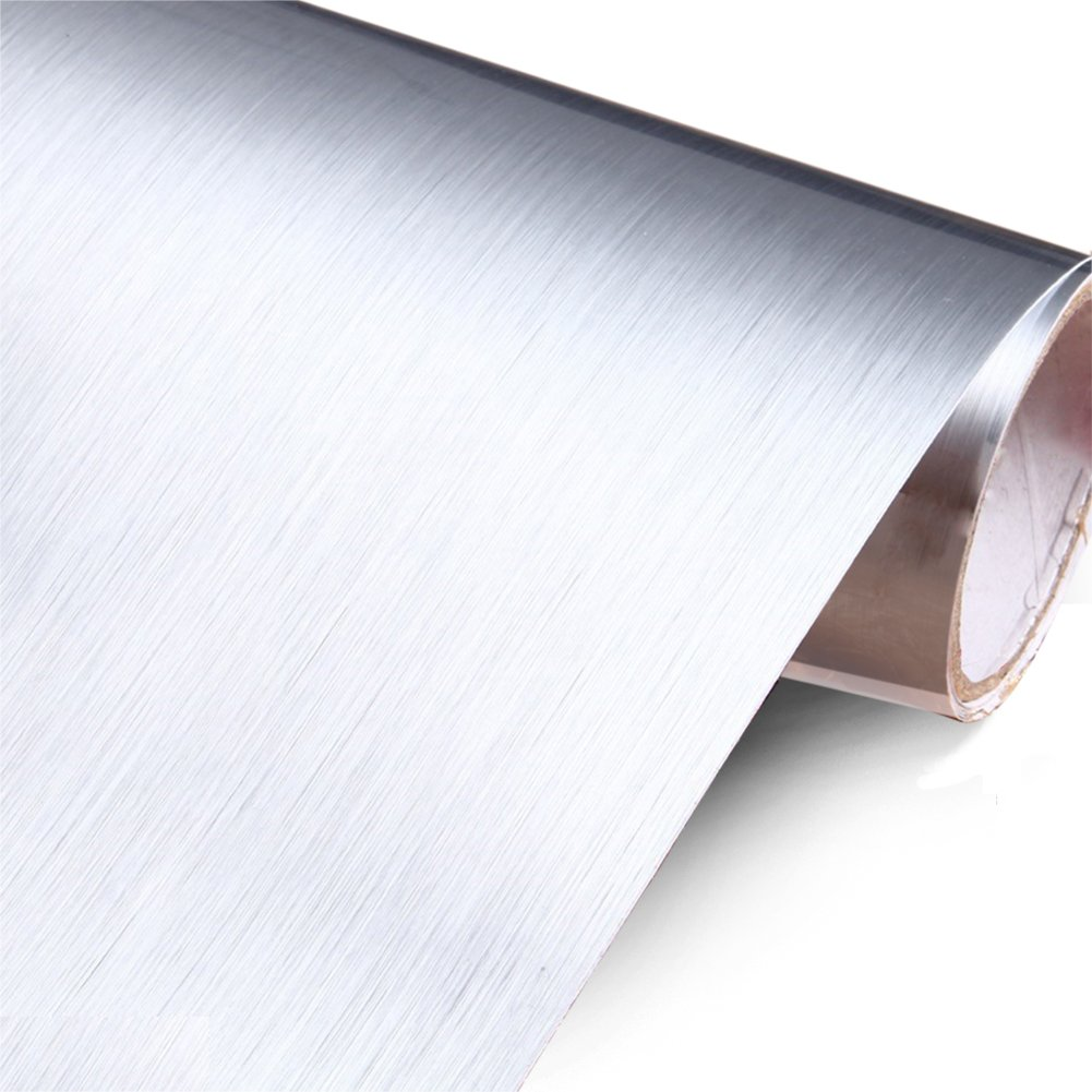 Silver Brush Stainless Steel Contact Paper for Appliances Self adhesive Vinyl Film Contact Paper Waterproof Peel And Stick Wallpaper for Kitchen Cabinet Shelf Liner 24 x 196 inch