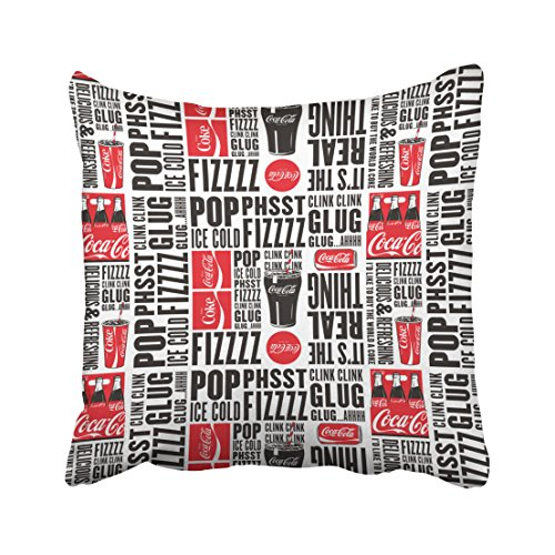 Emvency Decorative Throw Pillow Cover Square Size 16x16 Inches Coca Cola Pop Fizz Pattern Pillowcase With Hidden Zipper Decor Cushion Gift For Home Sofa Bedroom Couch ()