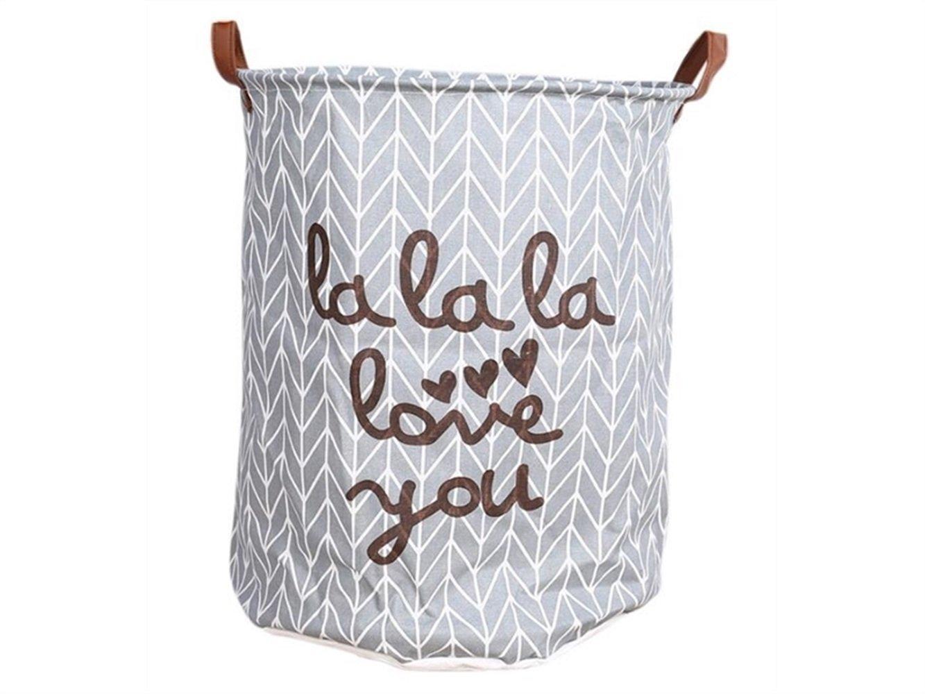 Gelaiken Lightweight Love You Pattern Storage Bucket Cotton and Linen Bucket Sundries Storage Bucket Waterproof Storage Bucket(Gray)