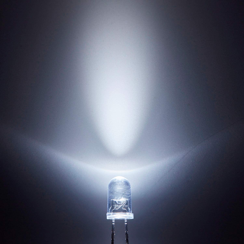 Vaorwne 100 pcs 5mm Green LED Diode Lights 3V 20mA Bulb Lamps Electronics Components Light Emitting Diodes
