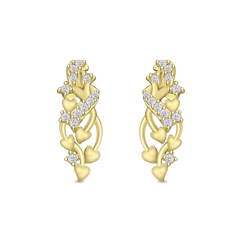 Round Cubic Zirconia Floral Multi Heart Fancy Drop Dangle Earrings for Womens Girls in 14k Gold Plated