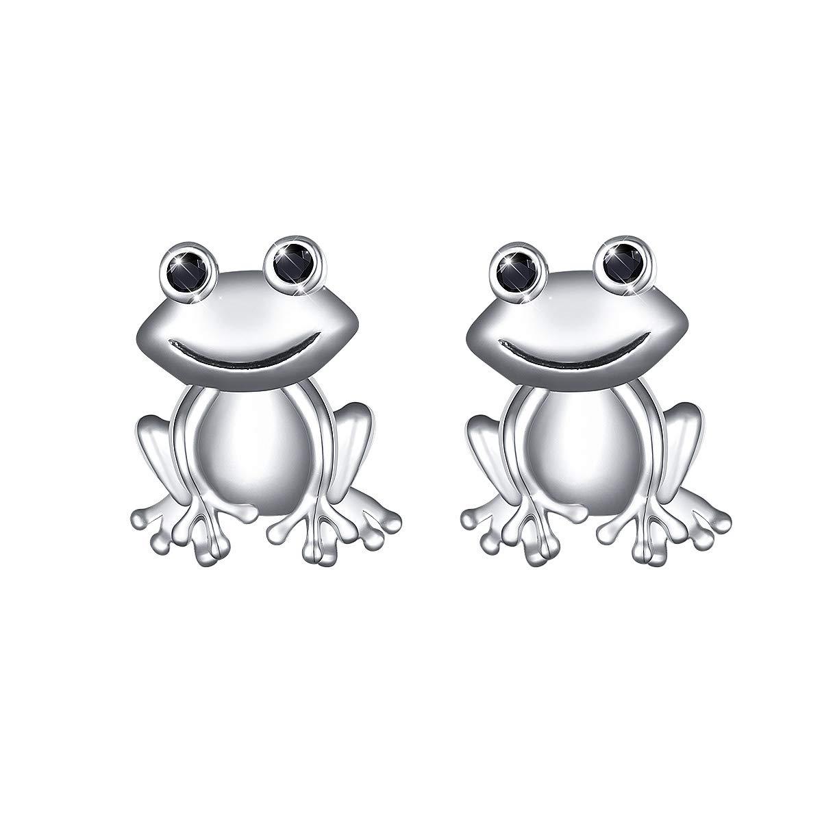 Flyow Boucles doreilles /à tige en argent sterling 925 hypoallerg/éniques Motif grenouille