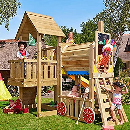 Large Wooden Train Climbing Frame Suitable For Fun Stimulating
