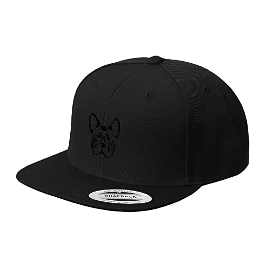 b0fbcbe769d Image Unavailable. Image not available for. Color  French Bulldog  Silhouette Embroidered Flat Visor Snapback Hat Black