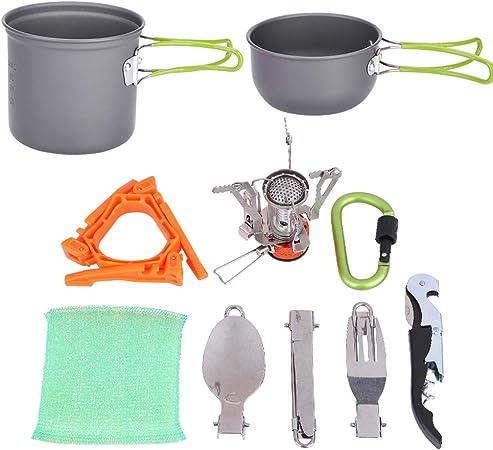 Kit de utensilios de cocina para camping, portátil al aire libre, juego de utensilios de cocina para picnic, senderismo, barbacoa, apto para 1-2 ...
