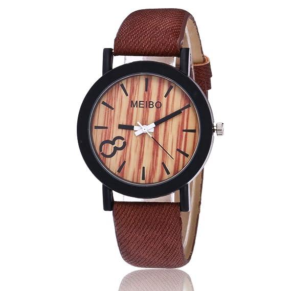 Yuwegr Damenuhr Einfach Leder Uhren Elegant Mode Damen Wooden Band shCtQrxBd