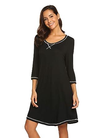 88281412cd MAXMODA Nightdress Womens Cotton Sleepwear Short Nightgowns Knit Sleepshirts  Black S