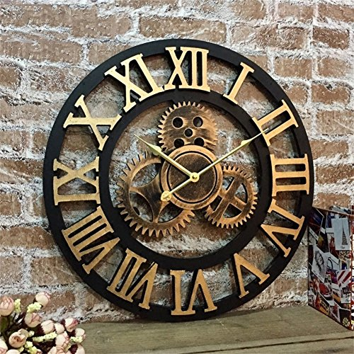 XJRHB Silent 3D European Style Retro Creative Wall Clock Industrial Gear Art Personality Living Room Decoration Clock (Size : 27 inches)