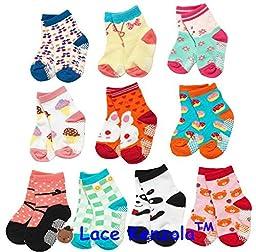 Lace Kenzola Happy Toddler Quarter Socks Set Anti-slip 2T 3T Rabbits