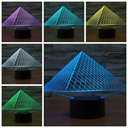 Geekercity 3D Optical Illusion Desk Lamp Night Light, 7 Colors Changing Touch Switch Table Home Decoration Nightlight for Bedroom Kids Room, Christmas Gifts (Pyramid) (Pyramid Cable Fixture)