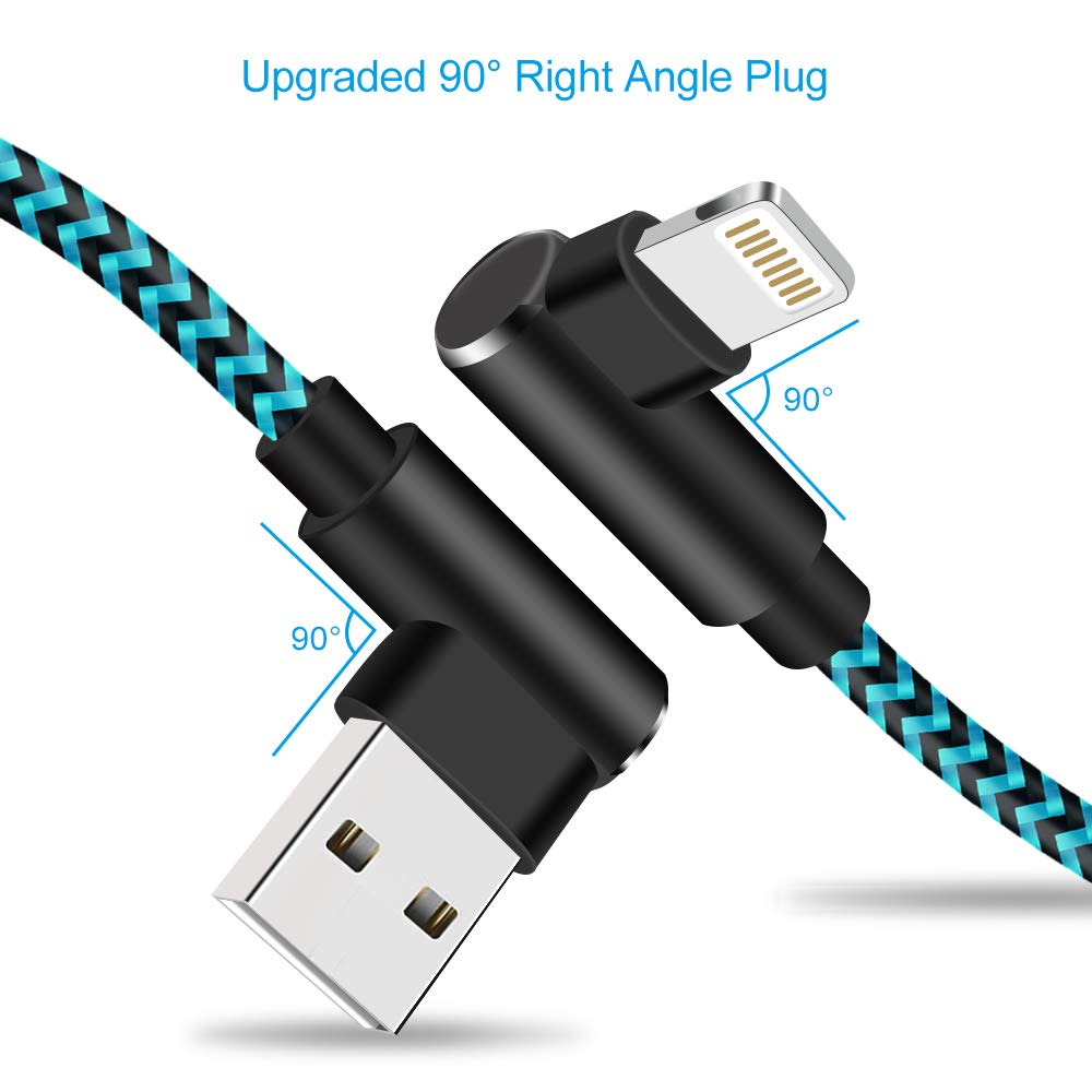 10 FT, Black Blue Right Angle iPhone Charger 10 FT 90 Degree Lightning Cable 3 Pack Nylon Braided Gaming Charging Cord Compatible with iPhone X 8 7 6 Plus iPad /¡/­