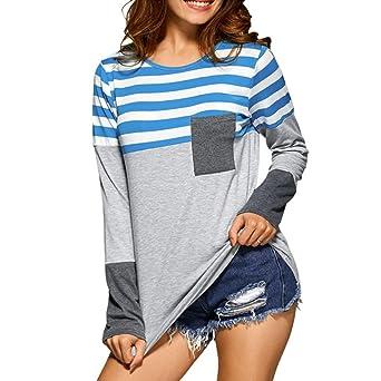 f9761803f94f Damen Langarm T-Shirt Oberteile Frauen Lose Pullover Lange Ärmel Streifen Shirt  Tops Bluse (